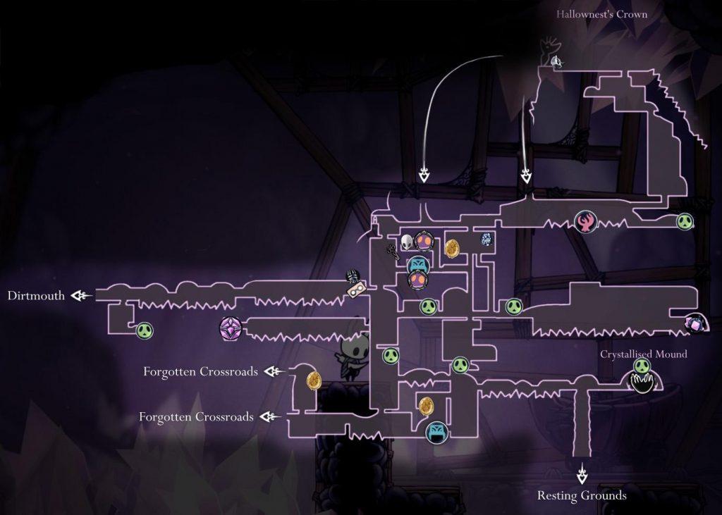 Hollow Knight: карта кристального пика