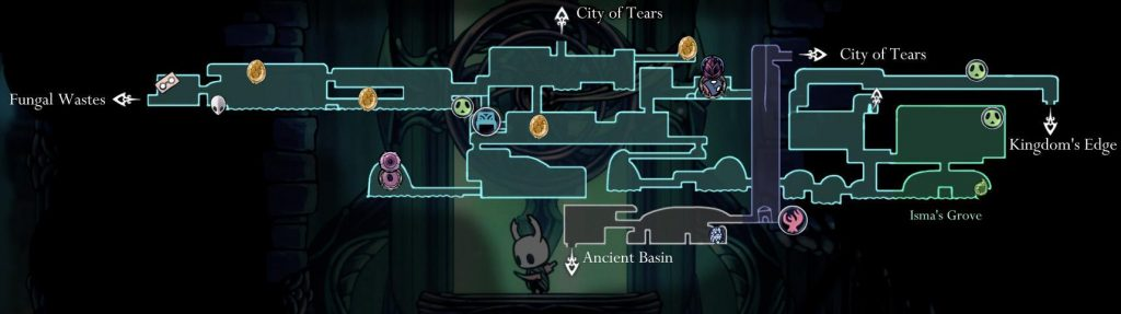 Hollow Knight: карта королевского водного пути