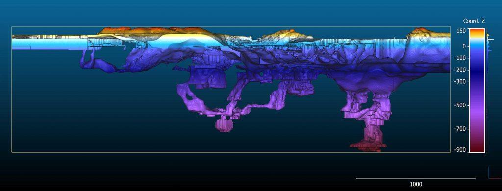 карта глубин вид сбоку
